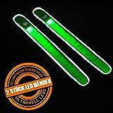 Doppelpack = 2 Stück Elastisches Reflexband Neon In Verschiedenen Farben Mit LED 35 CM Mal 3,8 Cm Schnapparmband Reflektorband Sicherheitsband Leuchtband Von Amathings