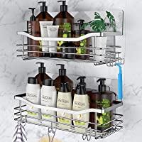 Orimade Adhesive Shower Caddy Shelf with 5 Hooks Organizer Storage Rack Wall Mounted Stainless Steel No Drilling for…