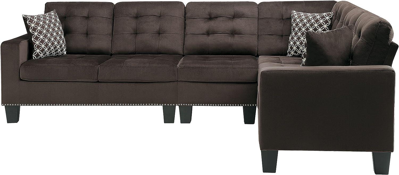 Homelegance Lantana 84 x 107 Fabric Sectional Sofa Gray