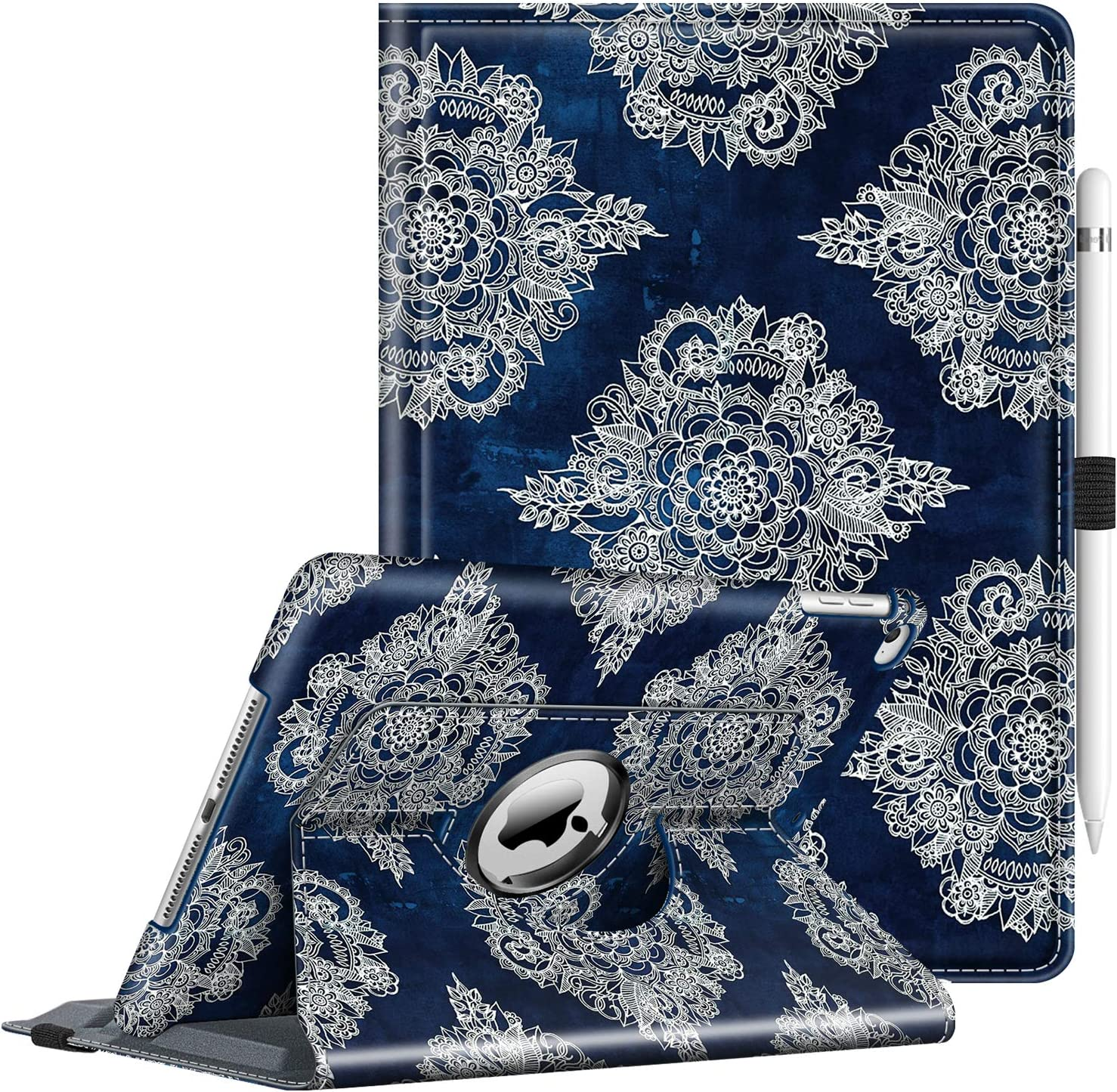 Fintie Case for iPad 9.7 2018 2017 / iPad Air 2 / iPad Air - 360 Degree Rotating Stand Protective Cover with Auto Sleep Wake for iPad 9.7 inch (6th Gen, 5th Gen) / iPad Air, Indigo Dreams