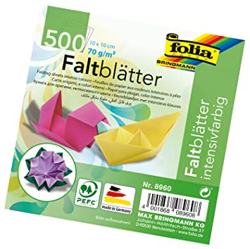 Global Art Materials 8960 Folia Origami Paper 4-Inch-by-4-Inch Assorted  Colors 500 Sheet Bulk Pack, 4