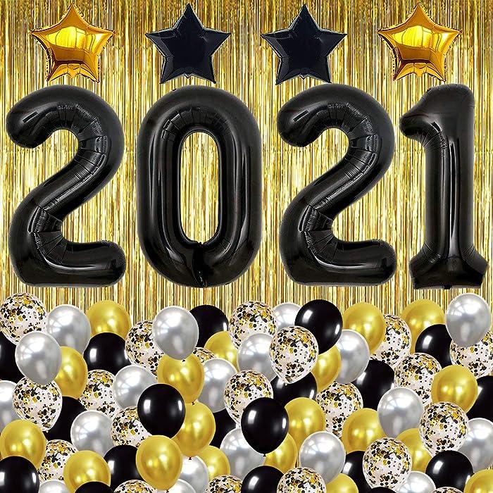 Black 2021 Balloons Set for Graduation Decor - XtraLarge 10 Feet Gold Foil Fringe | 40 Inch, Graduation Balloons 2021 with Gold, Silver Confetti Balloons | Graduation Decorations 2021 Black and Gold