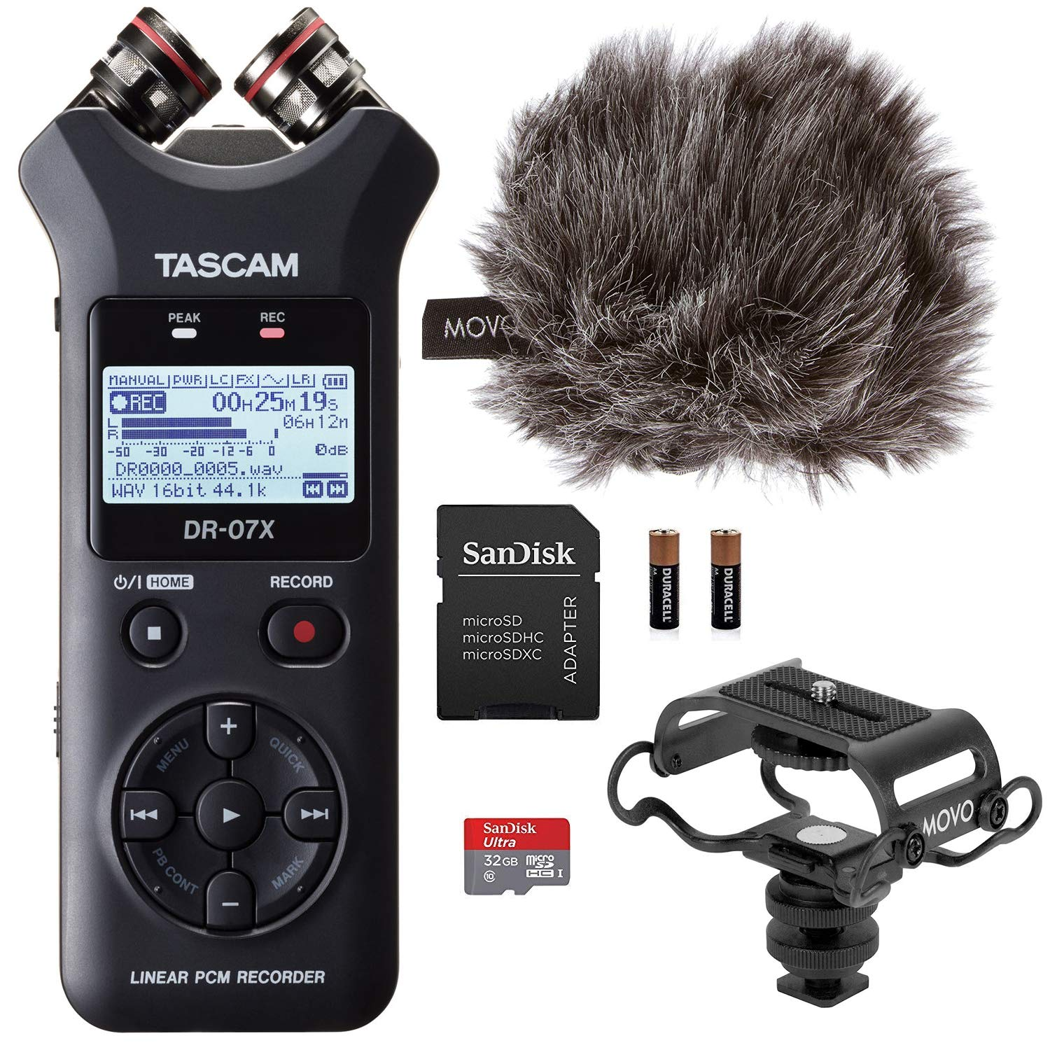 Tascam DR-07X Stereo Handheld Digital Audio Recorder & USB Interface Bundle with Movo Camera Shockmount,''Deadcat'' Windscreen and 32GB Micro SD Card