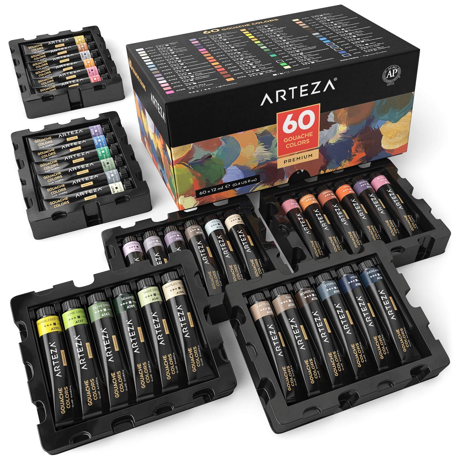 ARTEZA Gouache Paint, Set of 60 Colors/Tubes (12 ml/0.4 US fl oz) Opaque Paints, Ideal for Canvas Painting, Watercolor Paper, Toned Paper, or Using with Watercolors and Mixed Media by ARTEZA