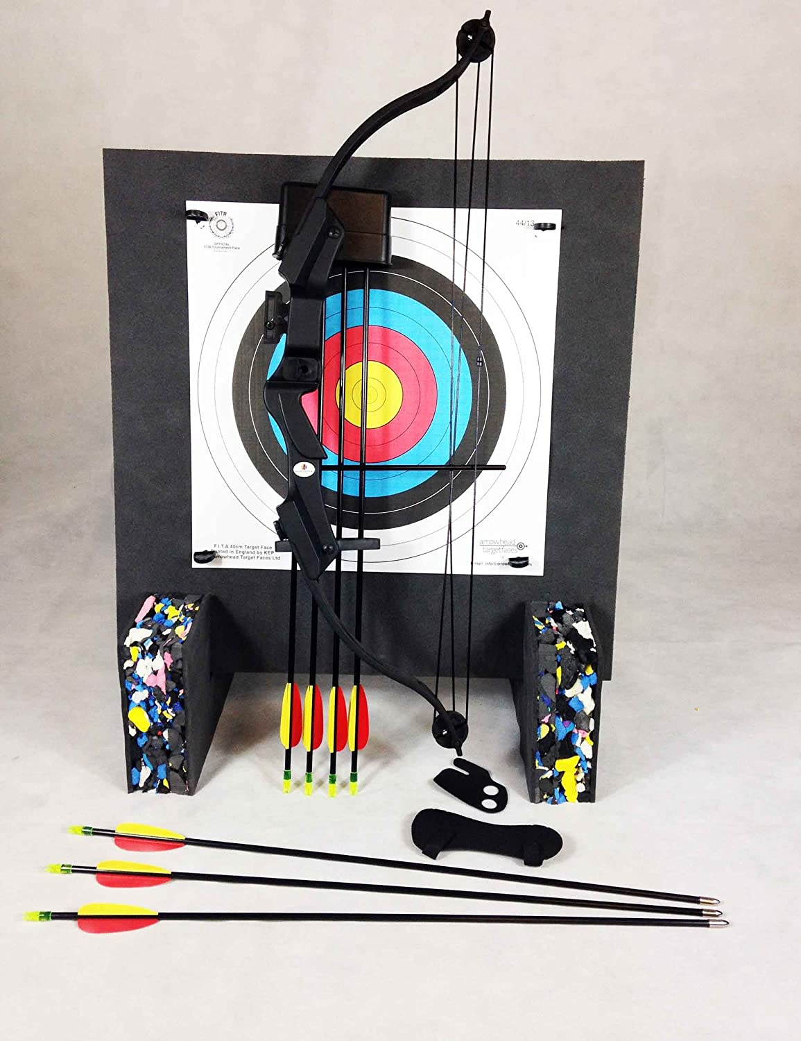 20Lbs Youth Black Compound Archery Starter Package With Foam Boss & Base Feet