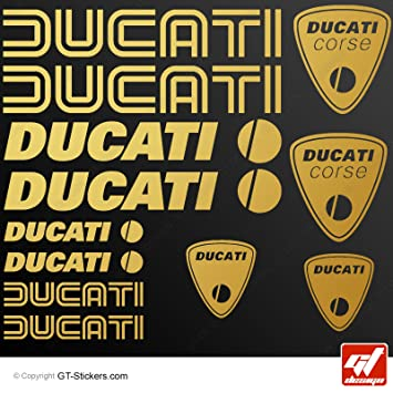 Ducati Gold Sheet Of 12 Stickers Stickers Stickers Amazon Co