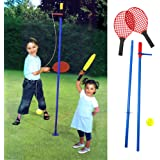 Swing Tennis Set Children Gyro Totem Tennis Set 2 Racquets Ball Adjustable Pole