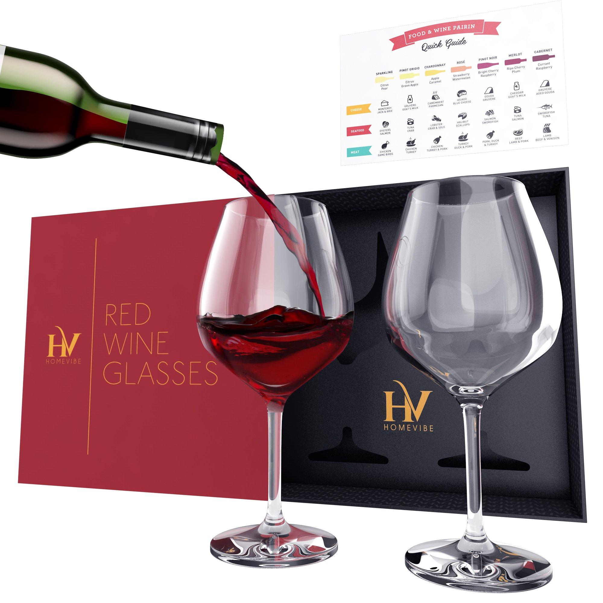 BIG Red Wine Glasses Set of 2 - 22oz Crystal Wine Glasses + Wine Cups, Long Stem Wine Glasses Set Enhances Wine Taste, Premium Crystal Glasses + Big Wine Glass Cups, Wine Tumblers & Copas de Vino