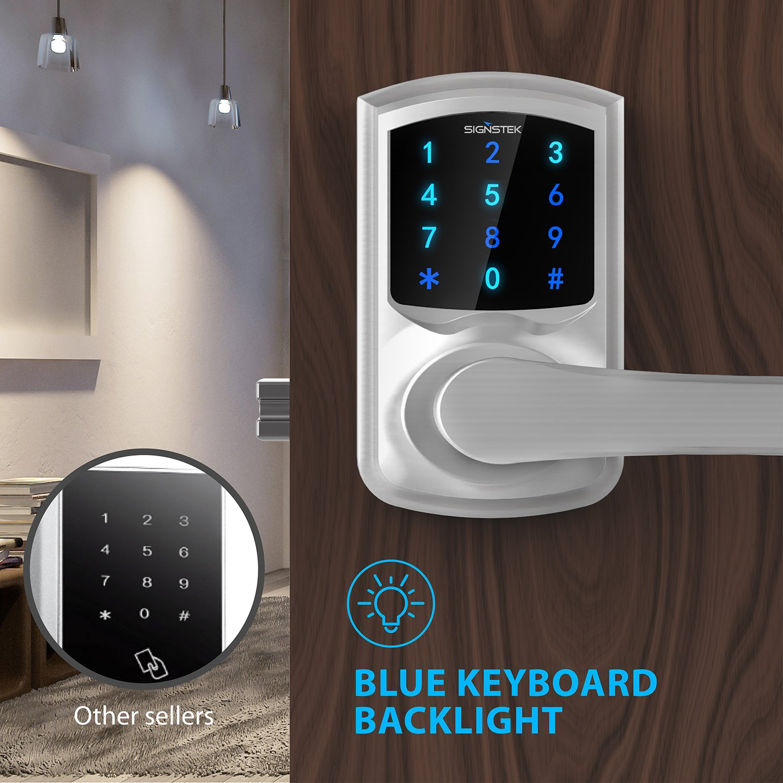 Silver Signstek Digital Electronic Touchscreen Keypad Security Entry Door Lock Interchangeable for Left and Right Door Handle with Hidden Mechanical Key