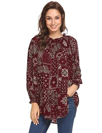 261b2fe9fd44 Imposes Damen Bluse Sommer Langarmshirt Bohemian Blumendruck Langarm  Oberteil Loose Fit Casual T Shirt S-