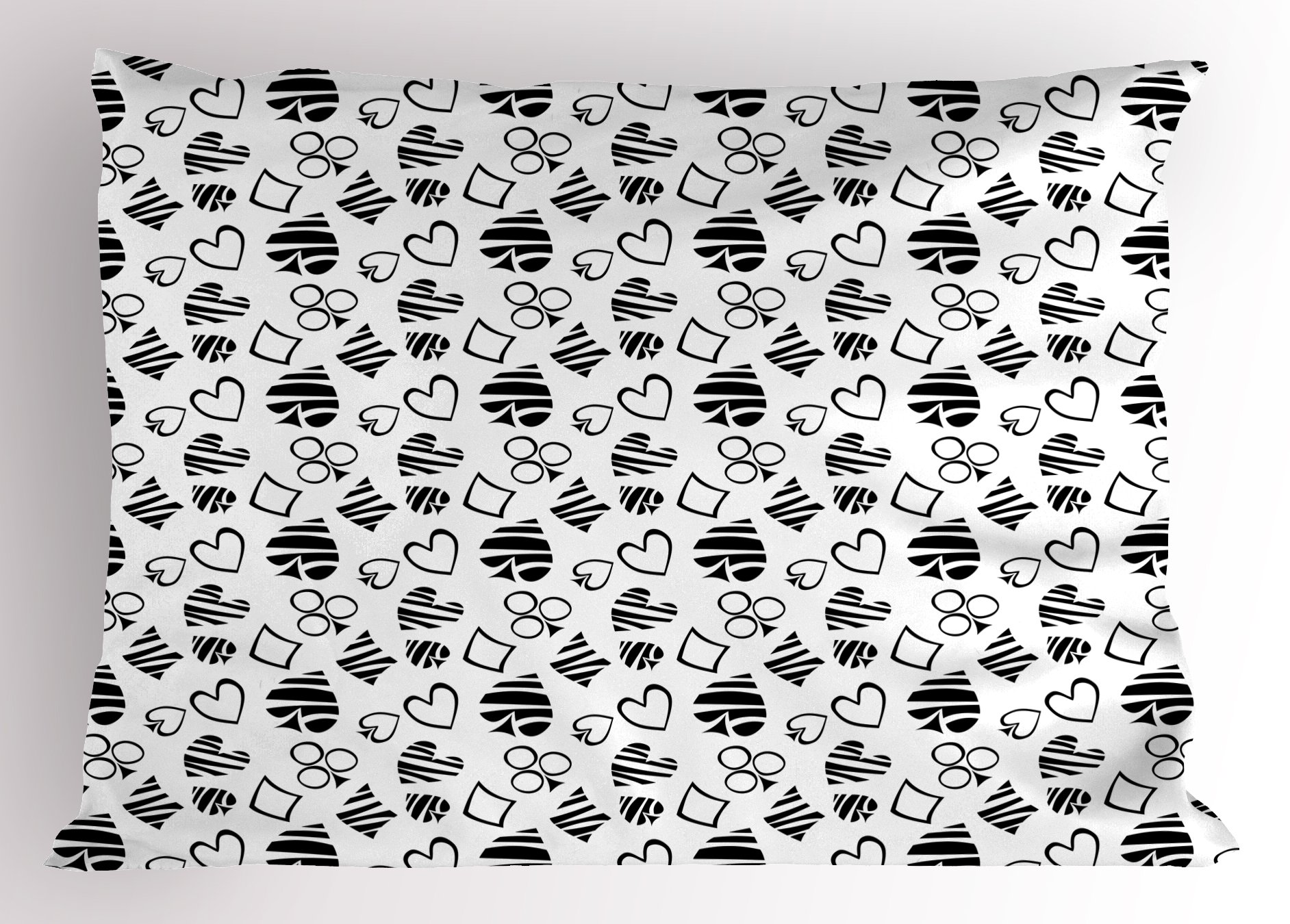 Lunarable Casino Pillow Sham, Monochrome Design of Playing Card Icons Repetitive Gambling Game Themed Ornaments, Decorative Standard King Size Printed Pillowcase, 36 X 20 inches, Black White