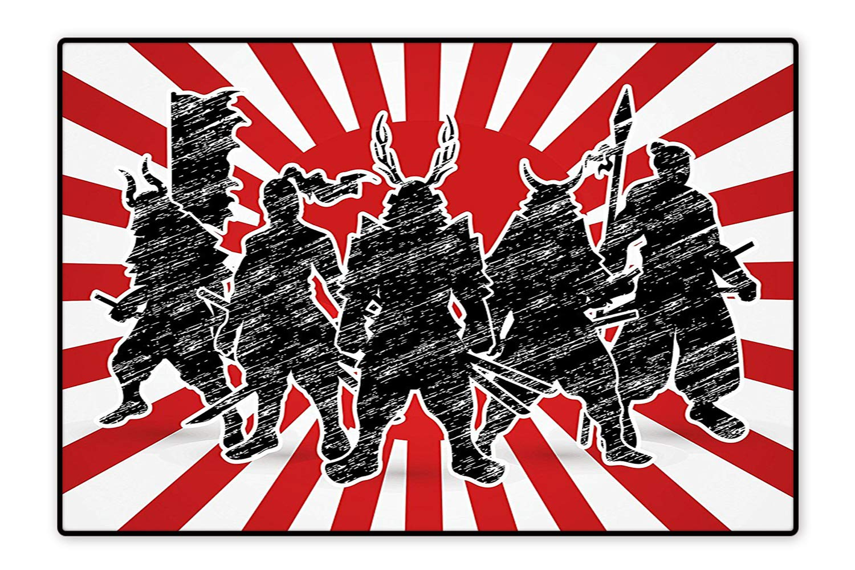 Amazon.com: Large Bathroom Rug Group of Samurai Ninja Posing ...