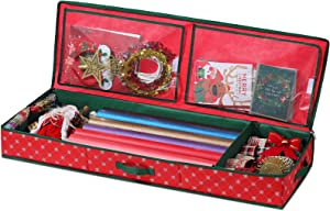 Christmas Wrapping Paper Storage Organizer Box Containers [1-pack], Ornament Storage Organizer Under Bed Storage Interior Pockets and Partition, Wrapping Paper Storage for Gift Bags, Ribbon, and Bows