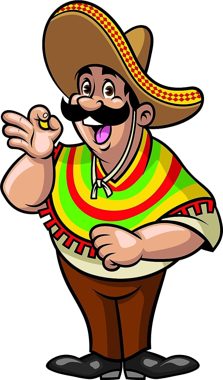 Amazon Com Mexican Man Sombrero Pancho Amigo Cartoon Vinyl Sticker 2 Tall Guitar Automotive