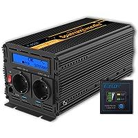 EDECOA Conversor Onda Pura 2000w Inversor 24v 220v con Pantalla LCD y Mando a Distancia Transformador para camion 2000w…
