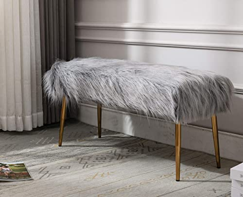 Guyou Modern Long Faux Fur Ottoman Bench Footrest Stool