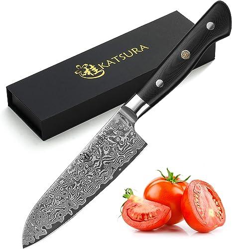 Amazon Com Katsura Santoku Knife 5 Inch Japanese Premium Aus 10 67 Layers Damascus Steel Knife Kitchen Dining