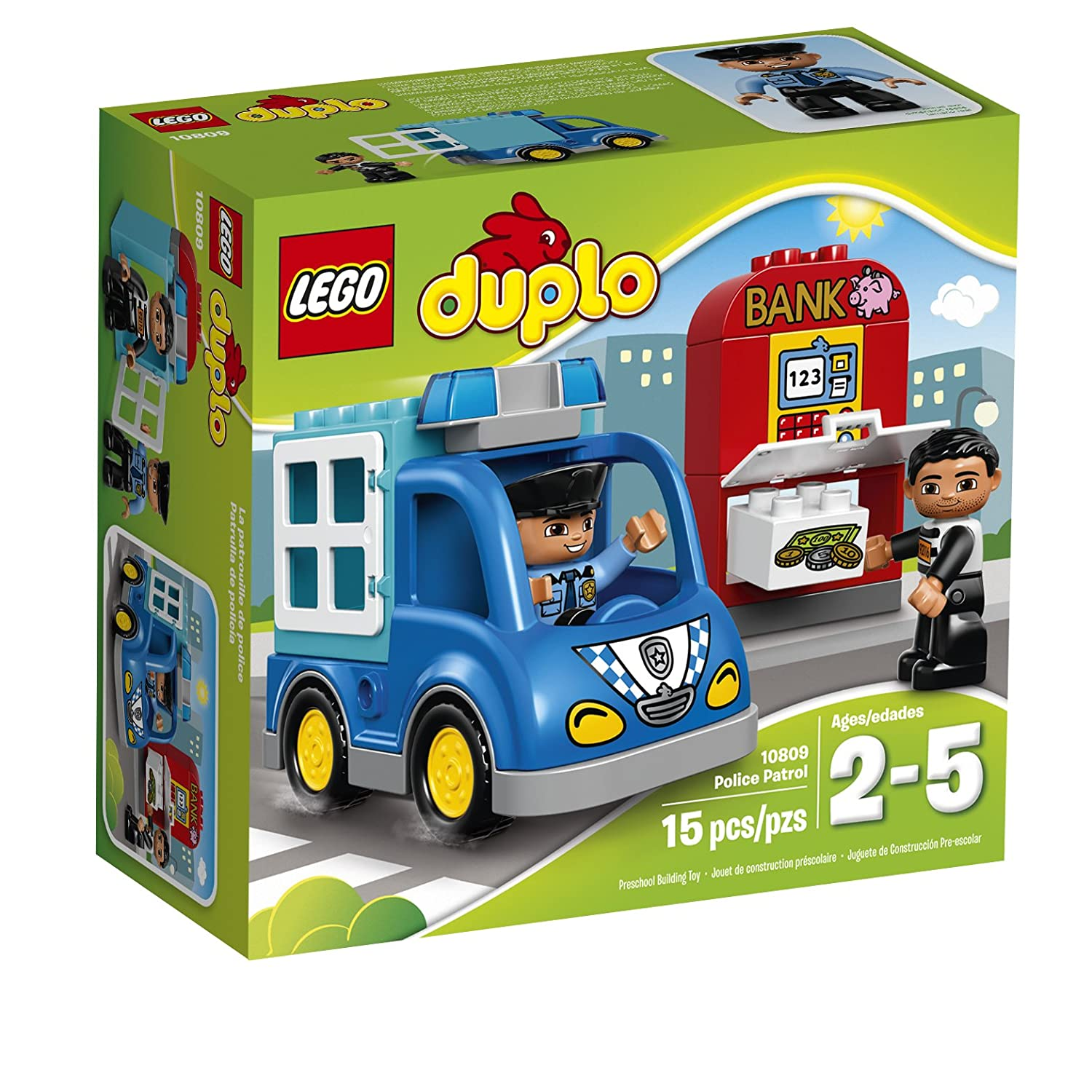 LEGO DUPLO Town Police Patrol 10809 Toddler Toy, Large Building Bricks 6138000