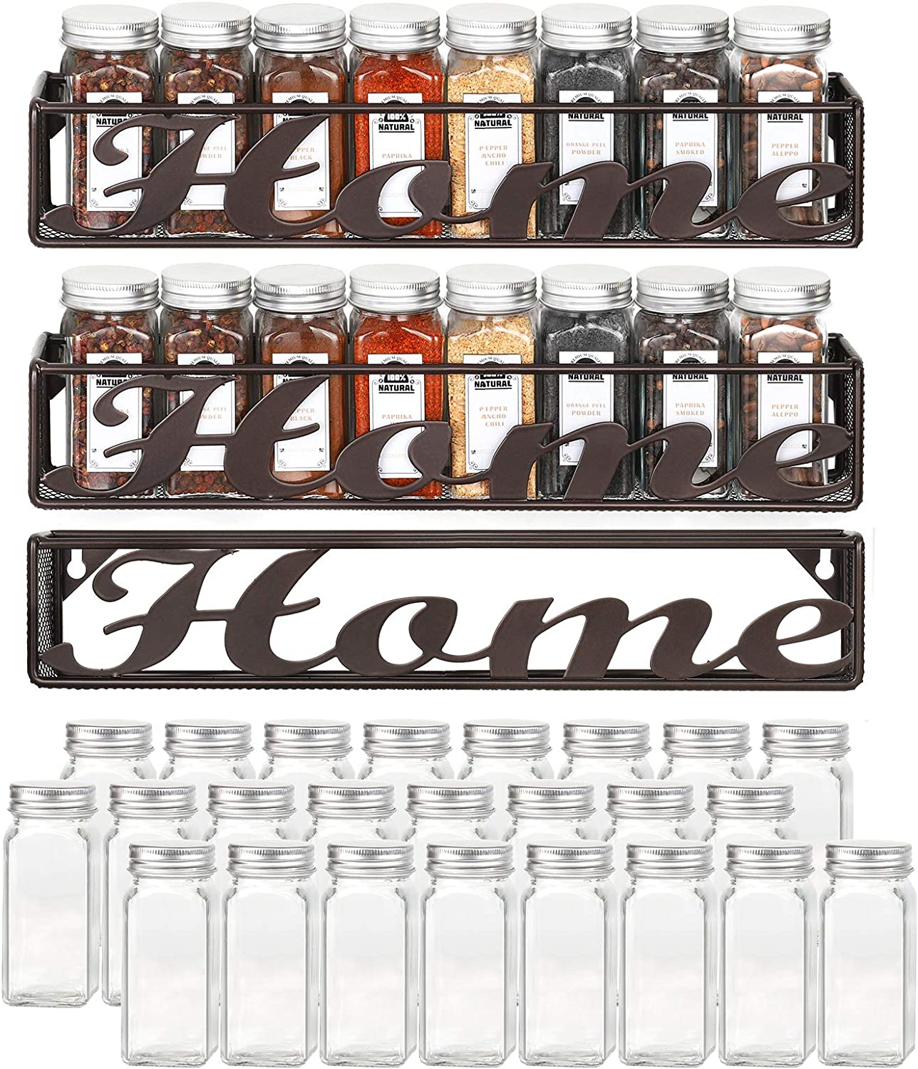 MOOACE Spice Rack with 24 Glass Spice Jars/Bottles, Home Sign Wall Mounted Spice Shelves Organizer Set of 3, Bronze