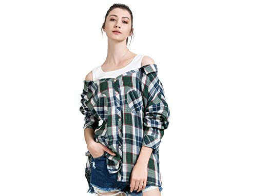 af911cc6d LAIZI Women Cotton Plaid Blouse 2 in 1 Top Cold Shoulder Long Sleeve Button  Down Shirt