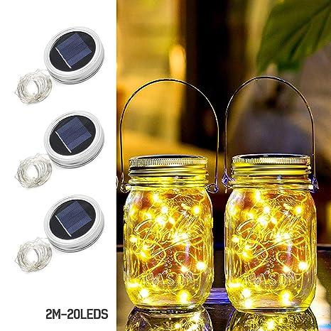 Solar Powered Mason Jar Lid Light 20 LED Fairy Light String Lights Garden Decor