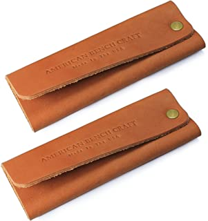 product image for American Bench Craft Leather Cast Iron Handle Cover for Skillets & Pots (set of 2) - American Made Hot Handle Holders (Tan)