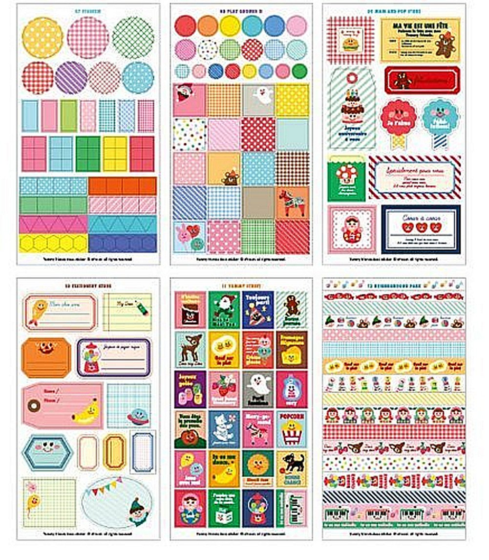 Cdet 12X Hojas Lovely Yummy Friends Etiqueta adhesiva adhesiva Cinta / Kids Craft Scrapbooking Sticker Set para Diario, Álbum