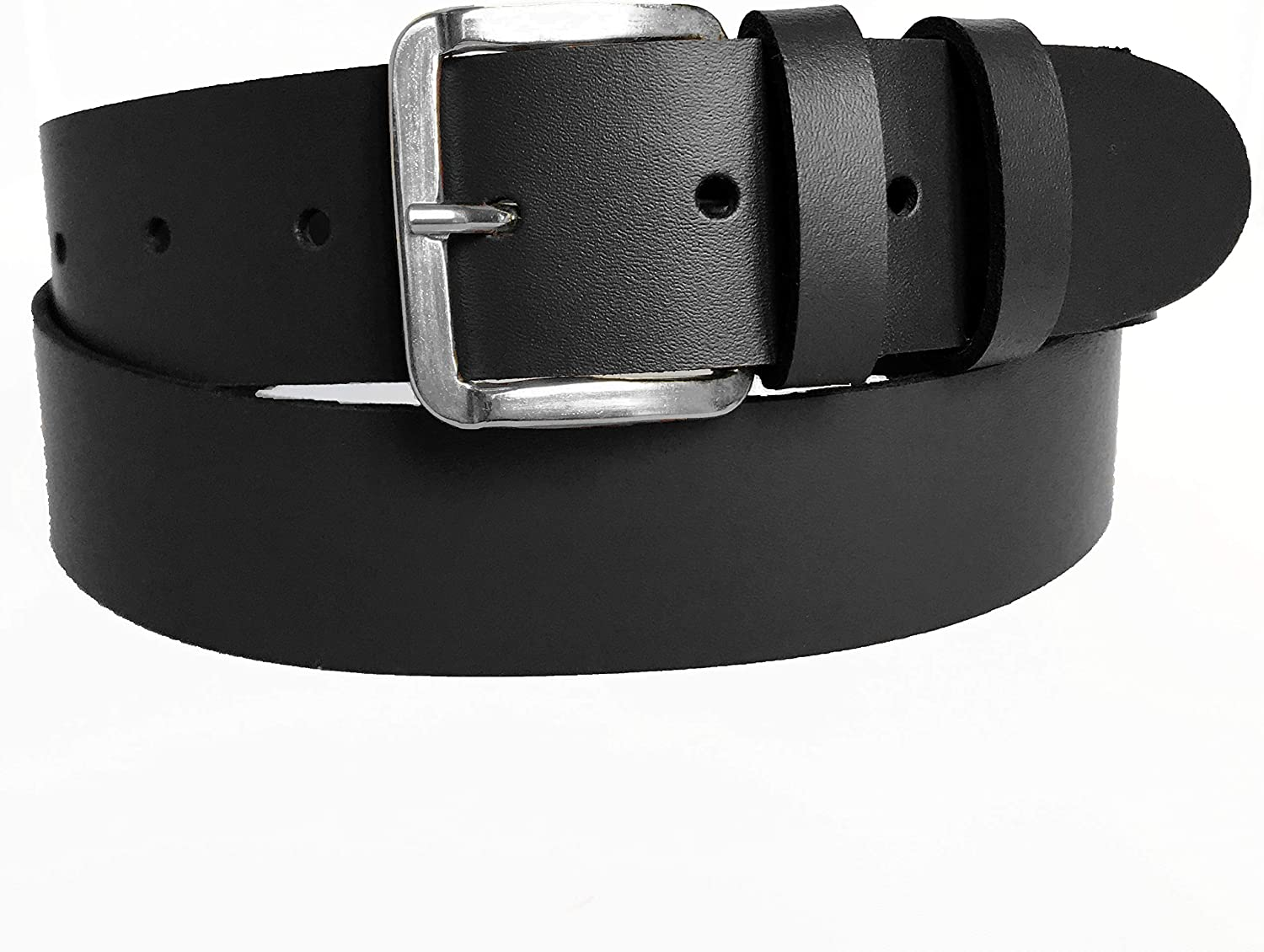 Women's Black Leather Jeans Belt 38mm Wide Sizes UK8 UK26 Silver Buckle 100% Real Leather Handmade in UK.