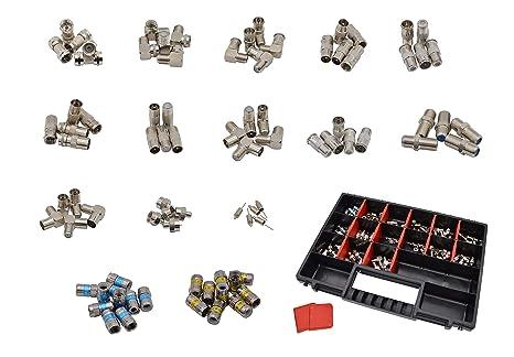 maxx.onLine 80 piezas adaptador de antena de TV & conector F Set de instalación para cable de antena, cable coaxial, TV de cable, adaptador de ...