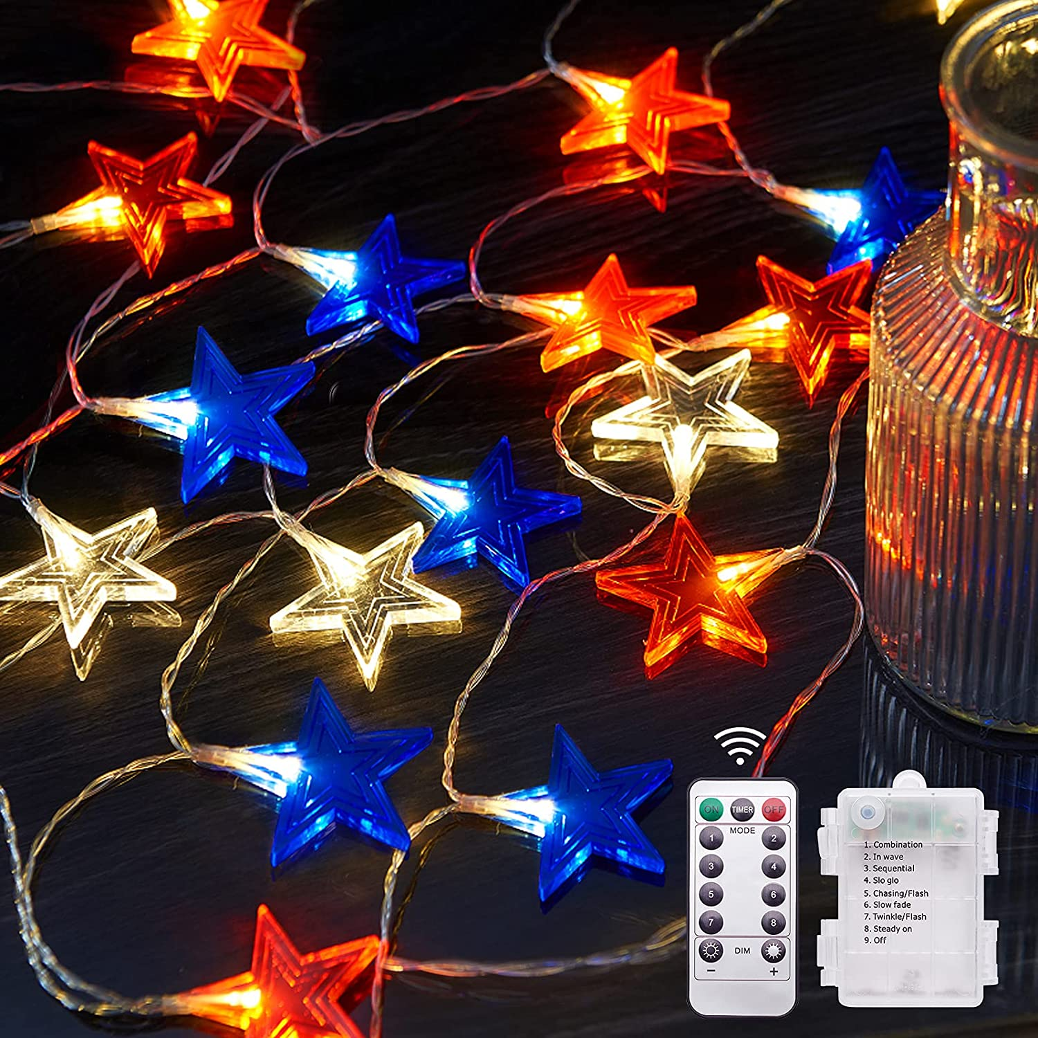 BlcTec 4th of July Decorations Red White and Blue Lights with 15FT 30 LED Big Stars Patriotic Lights, Battery Operated Fourth of July Lights with Waterproof 8 Modes for Outdoor Indoor July 4th Décor