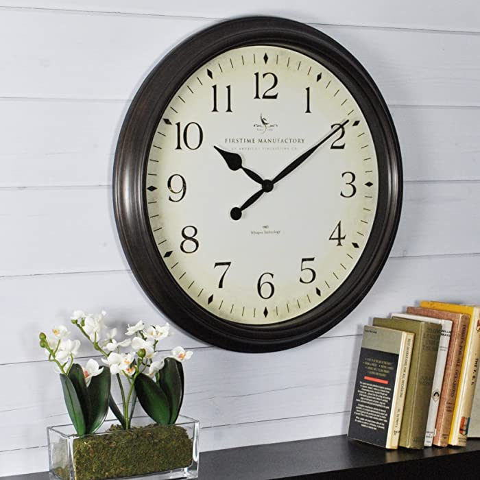 FirsTime & Co. Avery Whisper Wall Clock, American Crafted, Oil Rubbed Bronze, 20 x 2 x 20,