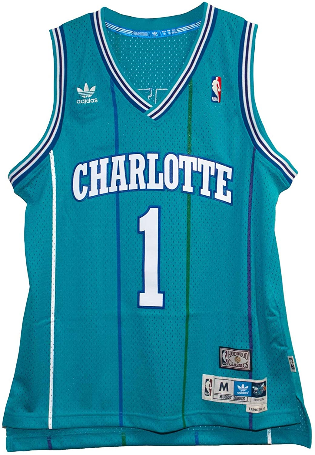 121c75c3a Amazon.com   Muggsy Bogues New Swingman Charlotte Hornets Adult Size Jersey  (2014-2015)   Sports   Outdoors