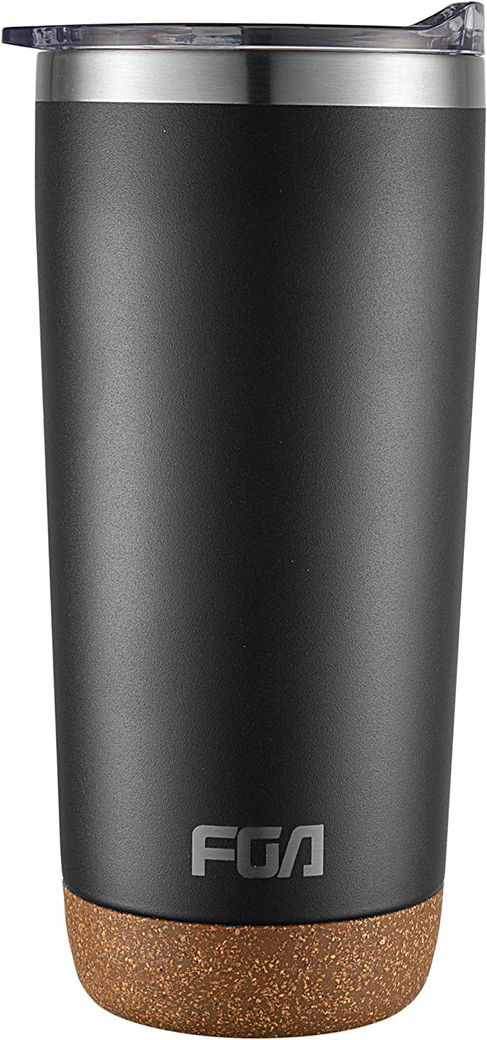 FGA Insulated Tumbler 20oz with Slide Clear Lid – Double Walled Vacuum, Wide Mouth Stainless Steel Thermal Coffee Travel Mug Cup for Man & Women, Home & Office, Ice Drinks & Hot Beverages - Black