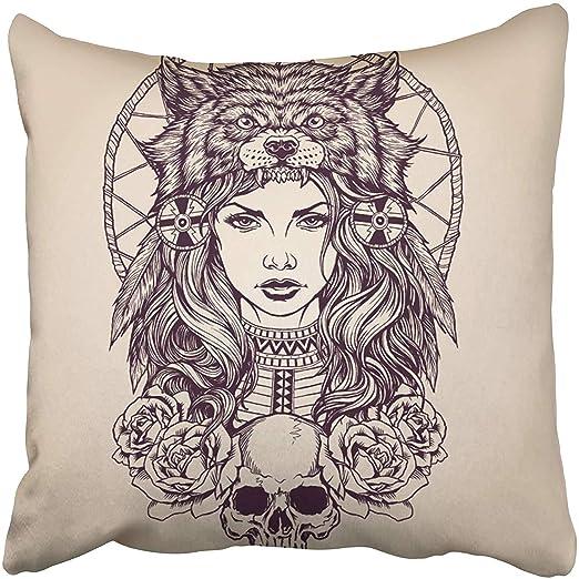 Kinhevao Cojín Decorativo Tatuaje Rojo Chica nativa Americana con ...
