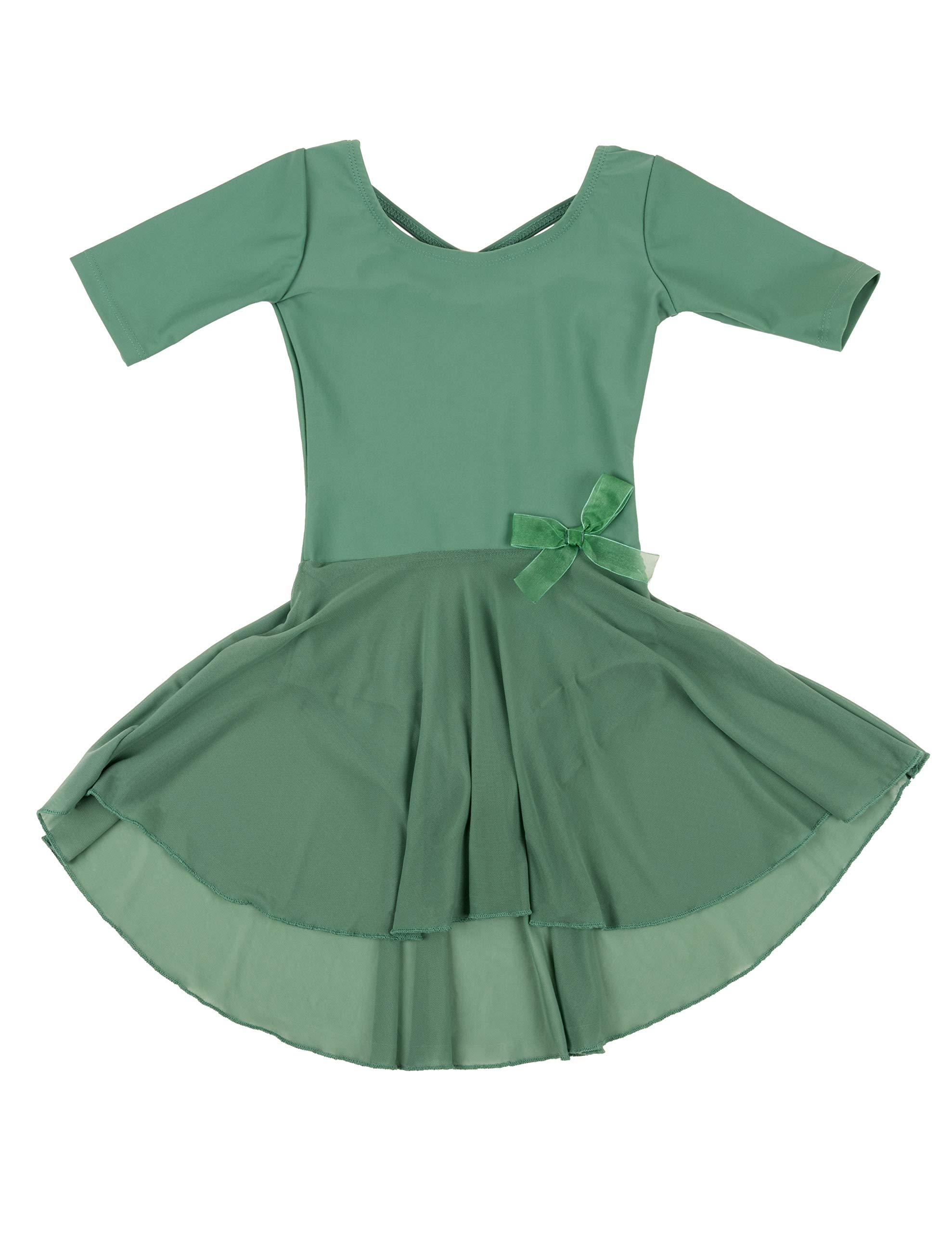 Leveret Kids Girls Skirt Leotard Green Long Sleeve Small 6 8 Years