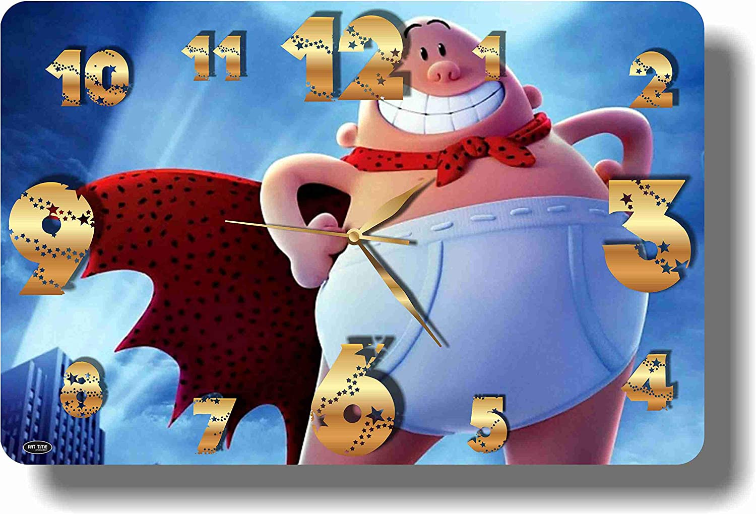 """Art time production Captain Underpants 17"""" x 11"""" Handmade Wall Clock - Get Unique décor for Home or Office – Best Gift Ideas for Kids, Friends, Parents and Your Soul Mates"""