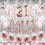 HAPYCITY 21st Birthday Decorations Balloons (55pack)Rose Gold 21 Balloons Number Happy 21 Party Supplies for Her-Perfect…