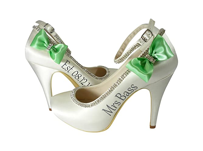 ca7079e667e3f0 Amazon.com  Personalized Wedding Heels with Angle Strap