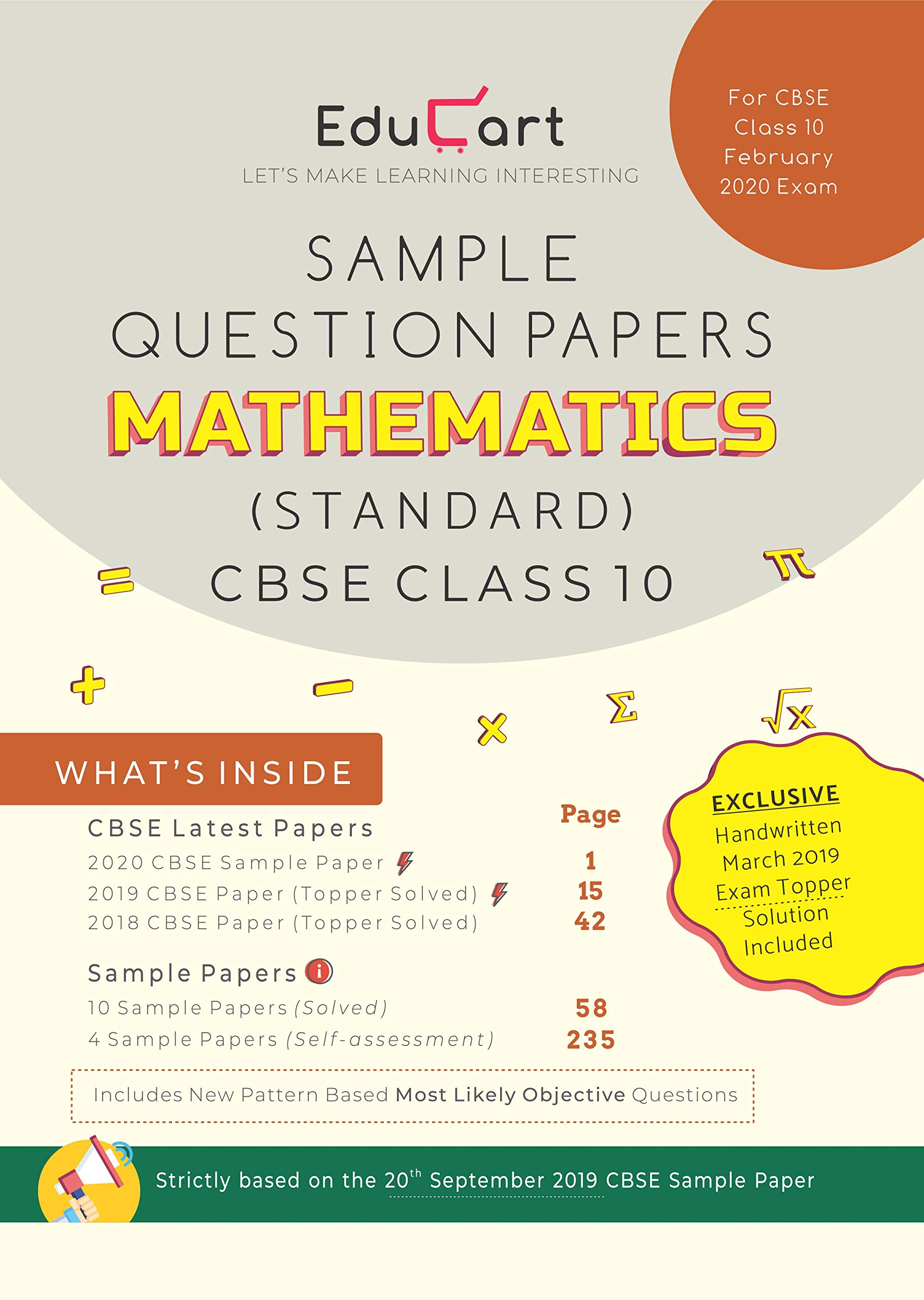 Educart CBSE Sample Question Papers Class 10 Mathematics (Standard) For February 2020 Exam (9387806456) Amazon Price History, Amazon Price Tracker