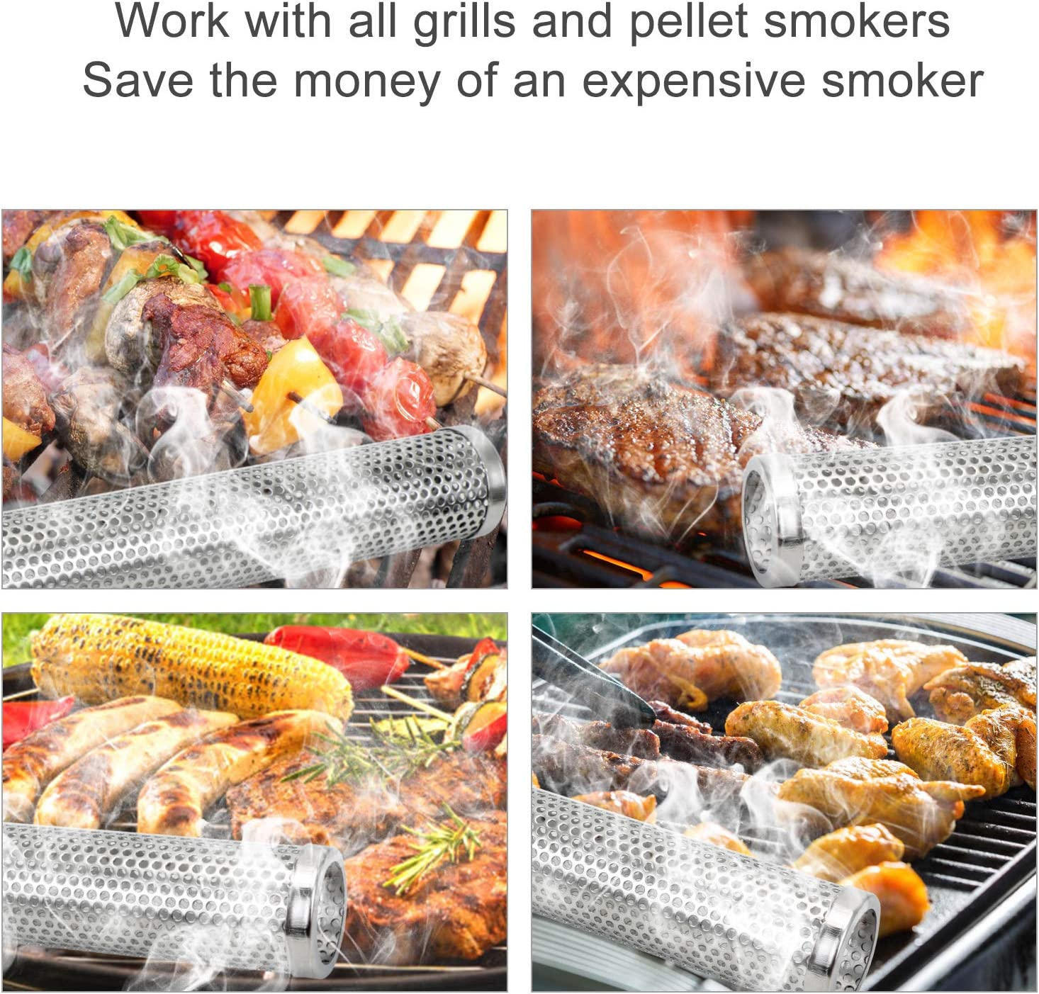 Pellet Smoker Tube Circular 12 Stainless Steel BBQ Wood Pellet Tube Smoker for Cold//Hot Smoking Portable Barbecue Smoke Generator Works with Electric Gas Charcoal Grill Smokers