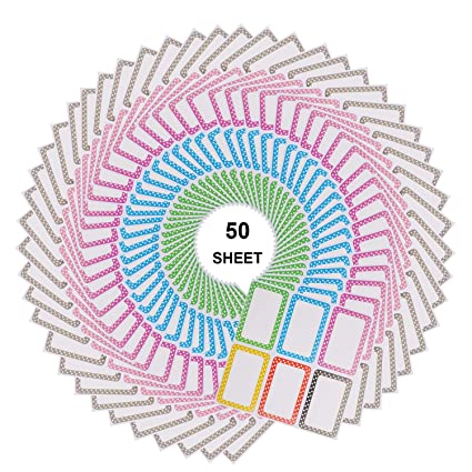 23d32fd5e5bd Amazon.com : Nakenja 300 Pieces Colorful Name Tag Labels Self ...