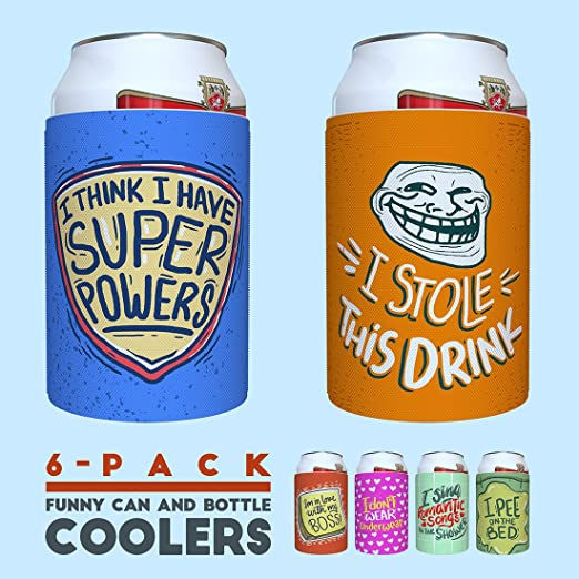 Koozies Can Coolers Set Of 6 Personalized Funny Coolies