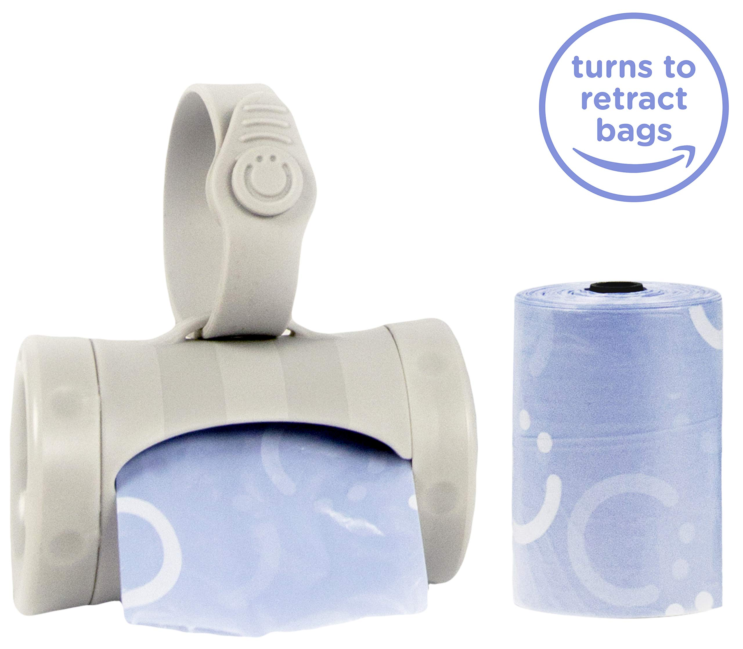Ubbi On The Go Gray Bag Dispenser and Waste Disposal Bags Refill, Lavender Scented, Baby Savings Bundle