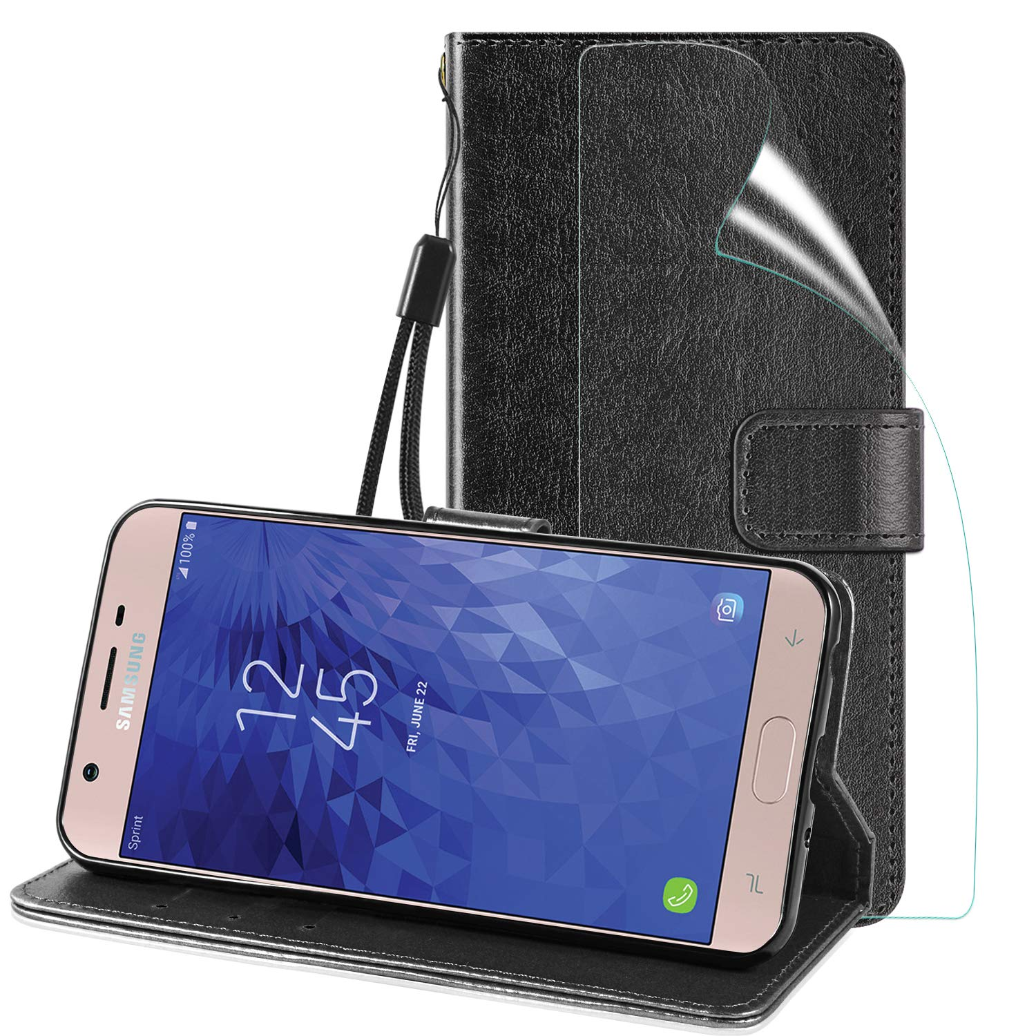 Samsung Galaxy J3 2018 Case, OEAGO Shock Absorbing Hard Ultra Protective Heavy Duty Case with Built-in Kickstand Holster Belt Clip and Build-in Screen Protector for Galaxy J3 Released in 2018 - Purple