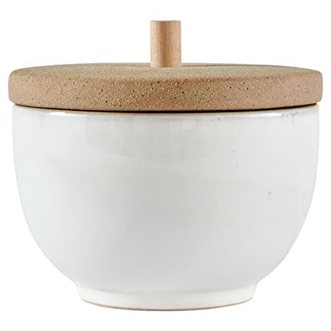 "Stone & Beam Rustic Acorn Shaped Stoneware Box, 5""H, White And Clay by Stone & Beam"