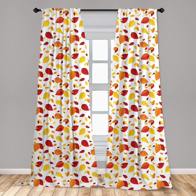 Ambesonne Leaf 2 Panel Curtain Set, Colorful Fall Autumn Leaves on White Background Seasonal Design Modern Artwork, Lightweight Window Treatment Living Room Bedroom Decor, 56