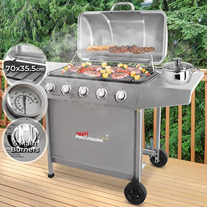 BBQ Parrilla De Acero Barbacoa Gas 5 Quemadores con Ruedas | Su p. Cocina 70x35cm, Incl. Termometro | Barbacoa De Gas, Barbacoa Portátil