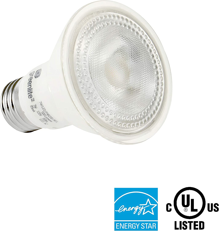 Weatherproof Energy Star Indoor//Outdoor 5000k Daylight 120V 50W Equivalent 40/° Wide Flood Beam Angle 7W 4 Pack 500 Lumens LED PAR20 Dimmable Flood Light Bulb