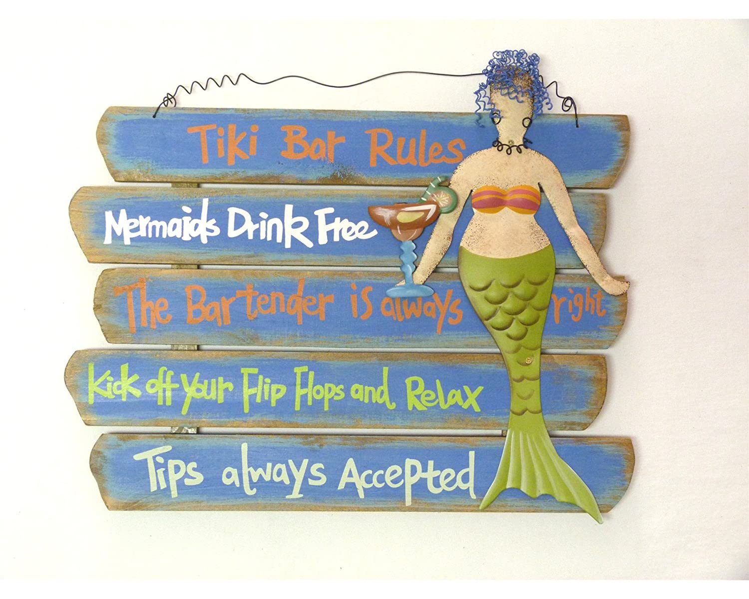 Amazon.com: Tiki Bar Rules Wood Plaque with a Tropical Drink and a ...