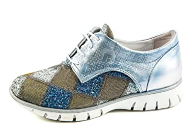 Felmini Damen Sneaker Low Blau Silber